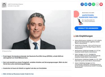 Grundgehalt, Boni, Versorgungszusagen: Wie sich das 10-Millionen-Gehalt von Deutsche Post-Chef Appel 2020 zusammensetzte